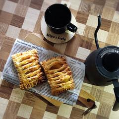 アップルパイ/コーヒー好き/温調ケトル/3時のおやつ/スイーツ/100均/... 3時のおやつぅ...♪*゚  アップルパ…