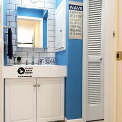 ポスター/ラグ/カリフォルニアインテリア/カリフォルニアスタイル/サブウェイタイル/マリンランプ/... 我が家の洗面所。