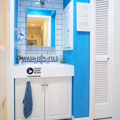 カリフォルニアスタイル/チャイハネ/ルーバー/ペンキ塗り/KOHLER/ニトリ/... 洗面所のインテリアを少し変えてみました。…