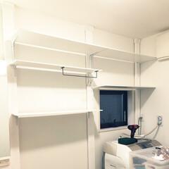 スペース有効活用/洗濯機上収納/洗面所DIY/棚DIY/洗濯機/DIY/... 嫁氏オーダー収納DIY