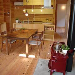 木張り/無垢フローリング/薪ストーブ 木張りをメインとした素敵な内装。