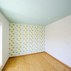 クロス 可愛い鳥の壁の子供部屋。ブルーの天井とド…