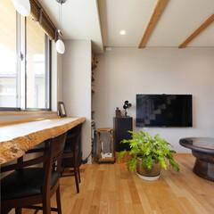 リビング/カウンター/庭/一枚板/窓辺/庭を見る窓 庭を愉しむ家 庭に面する一枚板のカウンタ…