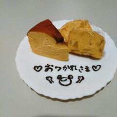 チョコペン/カフェ風/りんごの甘煮/りんごのパウンドケーキ/パウンドケーキ/おうちカフェ/... スイーツ好きな主人。 出張で疲れていたの…