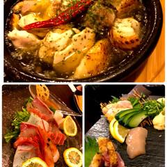 フード/グルメ/カルパッチョ/海鮮カルパッチョ/鶏の刺身三種盛り/アヒージョ
