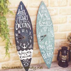 zakka- candy/サーフ/サーフボード/カリフォルニアスタイル/掛け時計 新生活 カリフォルニア 西海岸 おしゃれ…