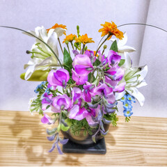 お花と遊ぼう/インテリア/インテリアフラワー/フラワーアレンジメント/草むしり/庭仕事/... おはようございます♪ 今日は曇り空です☁…