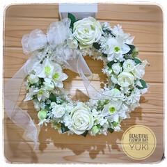 ハンドメイド/リース/お花のある暮らし/インテリア/お花と遊ぼう/ホワイトリース/... おはようございます♪  今日は朝から少し…