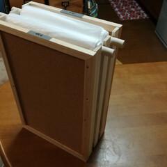 コルクボード/ゴミ袋/ゴミ袋ストッカー/すのこDIY/DIY/100均/... 100円ショップのコンパクトすのことコル…(1枚目)