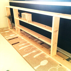 ナチュラル/テキトー/SPF材/1×4材/DIY/キッチンラック/... キッチンの窓枠にぴったりはまるラックを1…
