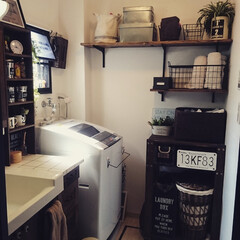 diy201604/壁面収納/内窓DIY/ランドリーBOX DIY/ダイソー/セリア/... 狭かった洗面所。壁面に棚を付けて見せる収…