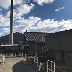 雲/青空/建築/世界遺産/空 富岡製糸場の煙突と空
