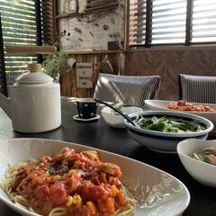 おうちcafé/手作りランチ/おうちごはん/フード/水菜サラダ/トマトパスタ/... お友達が我が家に遊びに来てくれました❤ …
