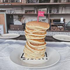 ホットケーキタワー/手作り/暮らしを楽しむ/おうちカフェ/おうち/フード/... 子どもたちと作った10段のホットケーキタ…