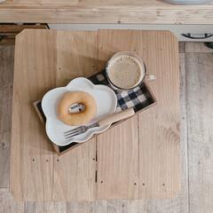 カフェトレイ/手作りトレイ/カフェタイム/一人時間/おうち時間/暮らしを楽しむ/... 今日も玄関で♫ ちょっぴり、おひとり様時…