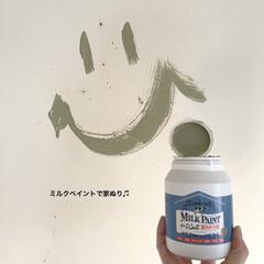 ターナー色彩 室内かべ用 ミルクペイントforウォール 水性塗料 450ml | ターナー(パテ)を使ったクチコミ「汚れた壁をミルクペイントforウォールで…」