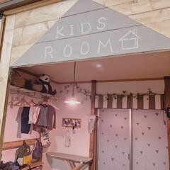 子ども部屋DIY/子ども部屋インテリア/子ども部屋/ミルクペイント/ランプシェードリメイク/ランプシェード/... スマホでライトの明るさや色合いを変えられ…