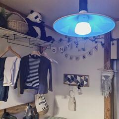 子どもと暮らす/こどものいる暮らし/日々の暮らし/暮らしを楽しむ/ランプシェード/ランプシェードリメイク/... 息子はブルーの光がお気に入りのようです👦…