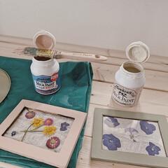 ミルクペイント 4ペンキ DIY 塗装 塗る ペイント 家具 大工 色付け 50mL ターナー | ターナー(ペンキ、塗料)を使ったクチコミ「お庭で摘んだお花をフォトフレームに♡  …」