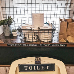 ワイヤーバスケット/DIY女子/トイレ/暮らしを楽しむ/おうち/100均/... 我が家のtoiletteです🚽  ニトリ…