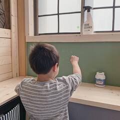 子ども部屋インテリア/子ども部屋/ミルクペイントforウォール/暮らしを楽しむ/LIMIAインテリア部/LIMIA手作りし隊/... 子ども部屋の勉強スペースに、  黒板コー…