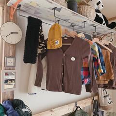 ミルクペイント/子供部屋/子供部屋インテリア/子供部屋収納/洋服収納/洋服掛け/... 子供部屋の洋服収納棚𖠋 𖠋 ⡱  アイア…