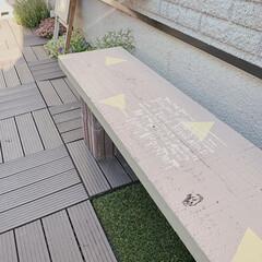 ミルクペイントforガーデン/ミルクペイント/DIYのある暮らし/ベンチDIY/ベンチ/小さなお庭/... お庭のベンチ塗り替えました♡  明るくな…
