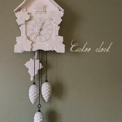 鳩時計/リメイク/ペイント 古い鳩時計をホワイトにペイント。  もっ…(1枚目)
