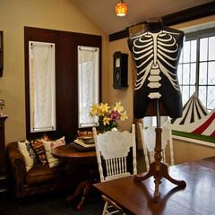 ハロウィン/飾り付け/トルソー/リメイク/ハロウィンパーティ ずいぶん前に0円で古いトルソーをいただい…