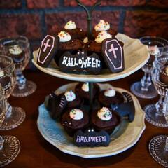 ハロウィン/パーティ/チョコケーキ/カップケーキ 週末にハロウィンパーティをしました!  …(1枚目)