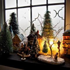 クリスマス/デコレーション/クリスマスビレッジ/100均/ダイソー/セリア クリスマスビレッジ。  ここにある木々、…