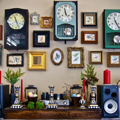 ゼンマイ時計/柱時計/写真フレーム/リメイク/おうち自慢 この壁は最近模様替えをしました。  一番…