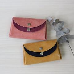 財布/革/春財布/ピッグスキン 春色のお財布つくりました。 人気のお色の…