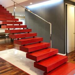 デザイン階段/オリジナル階段/派手好き/鏡面/住宅/デザイン住宅/... 踏み板サイズがとても大きく巾も広くして、…