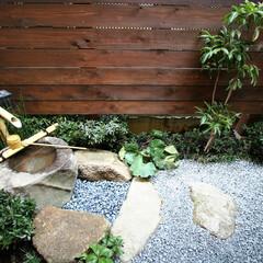 注文住宅/和/坪庭/つくばい 建替前のお住まいにの特徴だった坪庭。プラ…