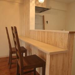 リノベーション/1LDK/キッチンカウンター/お洒落/かわいい/女子力 キッチンカウンターも作りました♡  ここ…