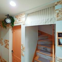 カフェカーテン/カフェ風DIY/カフェ風インテリア/カフェ風/玄関リメイク/階段リメイク/... 茶色とベージュのカフェカーテンを探してい…