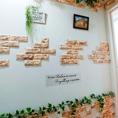 玄関リメイク/玄関インテリア/玄関/廊下リフォーム/廊下リメイク/廊下/... 壁にキズがあったのでウォールステッカー …