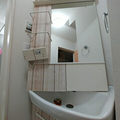 壁紙シート/壁紙リメイク/壁紙DIY/壁紙/洗面台DIY/洗面台リメイク/... 洗面台をこの前リメイクしましたが暗すぎた…(4枚目)