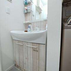 壁紙シート/壁紙リメイク/壁紙DIY/壁紙/洗面台DIY/洗面台リメイク/... 洗面台をこの前リメイクしましたが暗すぎた…(6枚目)