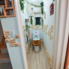 フロアシート/トイレリメイク/トイレリフォーム/トイレ/100均/DIY/... 洗面所に続きトイレの床もフロアシートを使…
