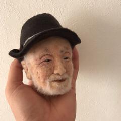 似顔/顔/手作り/羊毛フェルト/ハンドメイド 羊毛フェルトで作ったおじいさん。 先生と…(1枚目)