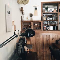漆喰/古いミシン台/スパイスラックDIY/ドライフラワー/IKEA/板壁/... 我が家のお気に入りの角度♡ キッチンカウ…