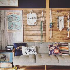 賃貸/元和室/インテリア/板壁/壁紙/ニコアンドポスター/... 元和室のこの部屋♡  壁を板壁にDIYし…