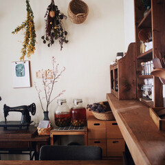 暮らしのキロク/キッチンカウンターDIY/古いミシン/古道具/お花のある生活/無印良品/... 我が家のキッチンカウンターからの眺め🌸 …(1枚目)
