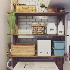 賃貸/サニタリー/原状回復/ディアウォール/無印良品の収納 サニタリーに作ったディアウォール棚(*´…