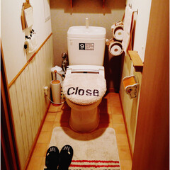 トイレ改造/テラコッタ風クッションフロア/セルフリノベーション/DIY/原状回復OK/ベニアで腰壁風 1.改善したかった点 元々のトイレのフロ…