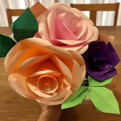 手作り花束/手作りプレゼント/子どもの作品/母の日のプレゼント 娘にもらった母の日のプレゼント。 一生懸…