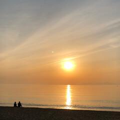 砂浜/海/GW/夕日/サンセット/慶野松原/... 淡路島 慶野松原のサンセット  とても綺…