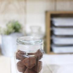 ガラスジャー/小瓶/トリュフチョコ/コストコ/100均/セリア 大好きなコストコのチョコレートを、セリア…